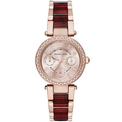 Michael Kors 琥珀時尚晶鑽日曆錶-玫瑰金x雙色版/33mm