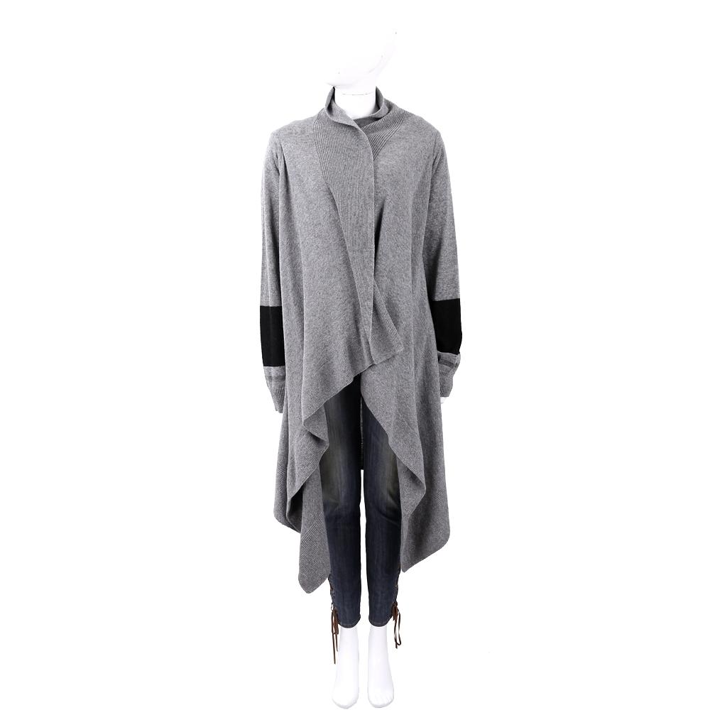 TRUSSARDI 馬海毛撞色袖灰色針織開襟羊毛罩衫