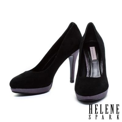 高跟鞋-HELENE-SPARK-時尚素面拼接羊麂皮高跟鞋-黑