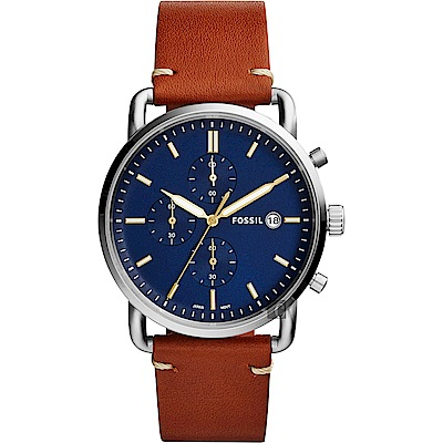 FOSSIL Commuter 潮男時尚計時手錶-藍x咖啡/42mm