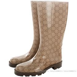 GUCCI GG Logo膠質長筒雨靴(咖啡色)
