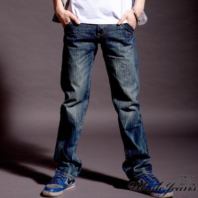 WHALE JEANS 男款完美刷色斜口袋紮實丹寧牛仔褲