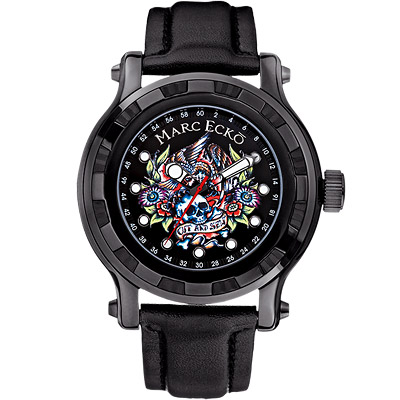 MARC-ECKO-伊甸園骷顱刺青腕錶-黑-49mm