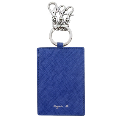 agnes b.簡單燙字防刮票卡夾鑰匙圈(藍)