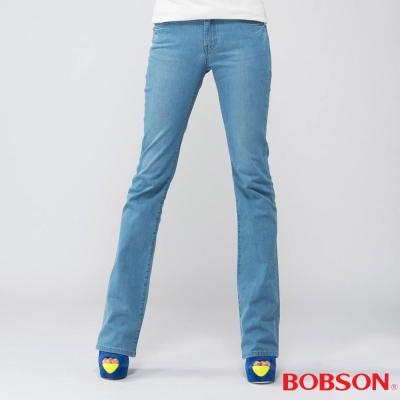 BOBSON   女款高腰膠原蛋白小喇叭褲-淺藍