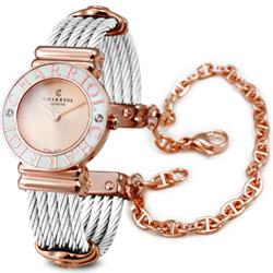 (無卡分期24期)CHARRIOL 夏利豪 St-Tropez 可拆式玫瑰色鎖鍊錶x24.5mm