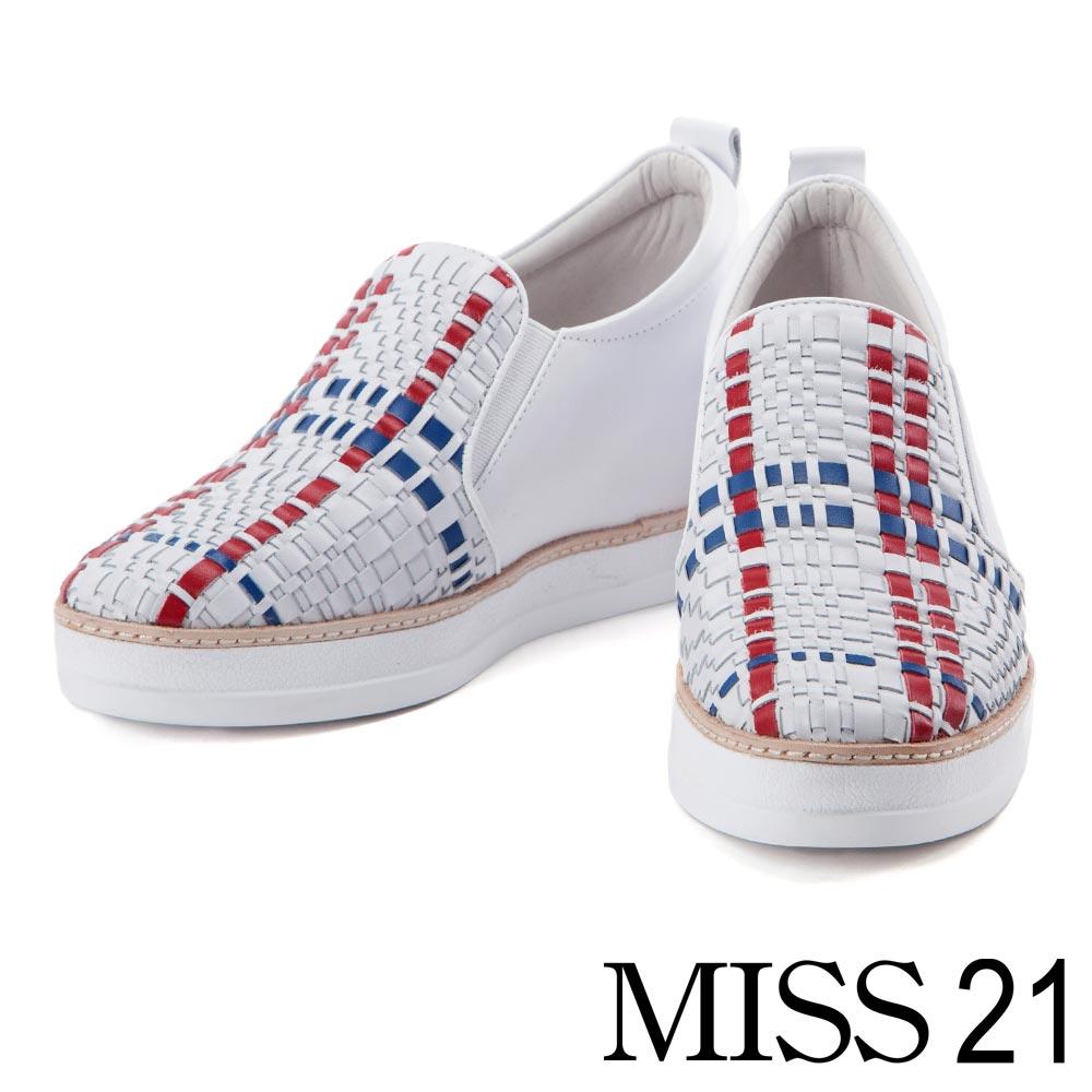 休閒鞋 MISS 21 時尚編織造型牛皮內增高休閒鞋-拼色