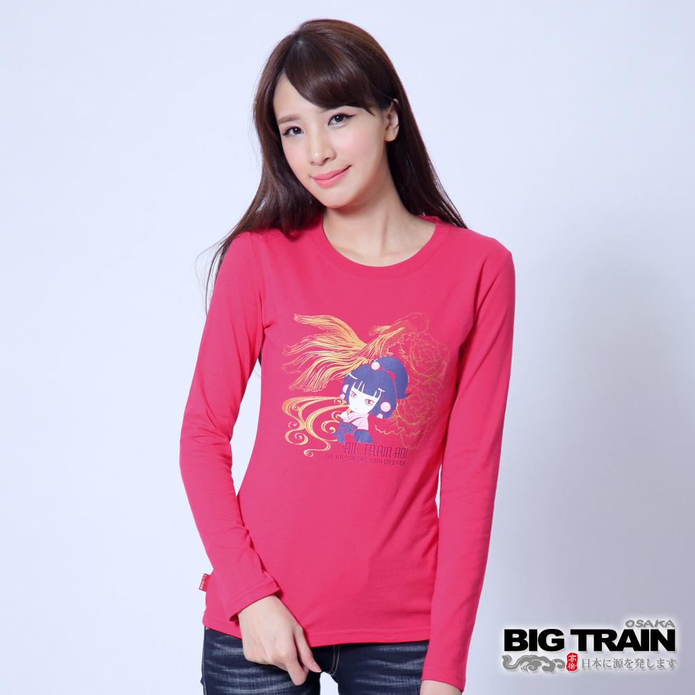 BIG TRAIN 金魚牡丹葵娃印花TEE-女-桃紅