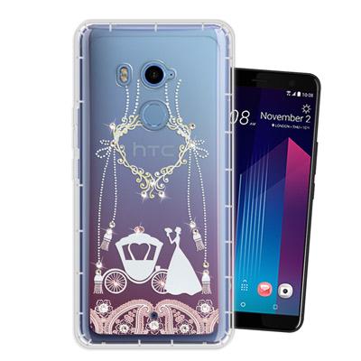 WT HTC U11+ / U11 Plus 奧地利水晶彩繪空壓手機殼(精靈捧花...