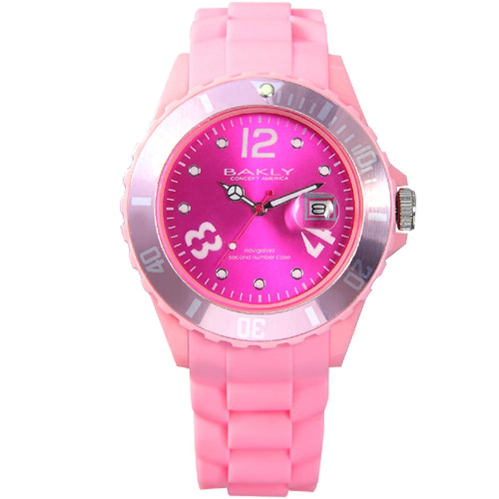 BAKLY 彩艷亮麗人生日期時尚腕錶-桃粉紅/43mm