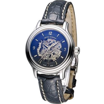 梭曼 Revue Thommen 浮華世紀鏤空機械腕錶-黑/34mm