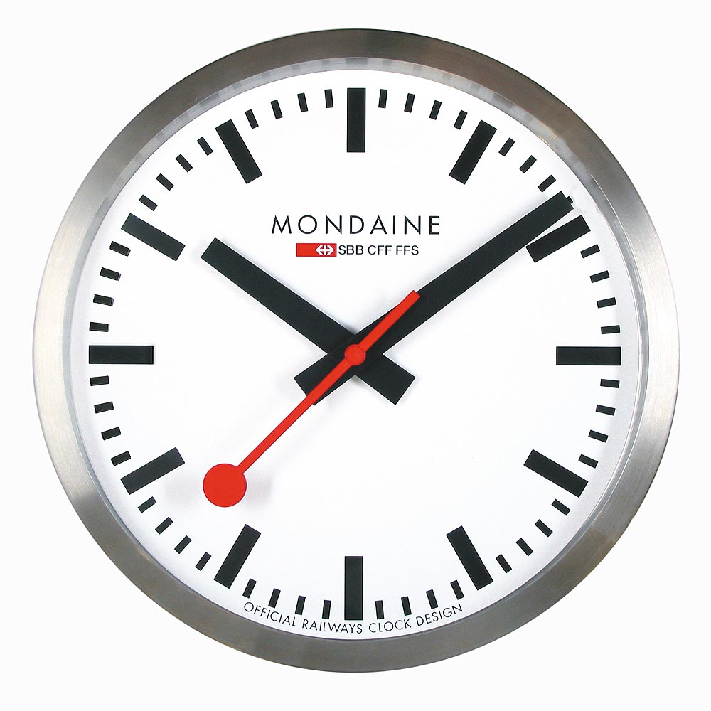 MONDAINE 瑞士國鐵25公分經典掛鐘-銀框