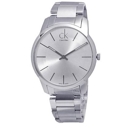 cK 時尚弧型切面鋼帶腕錶-白/43mm