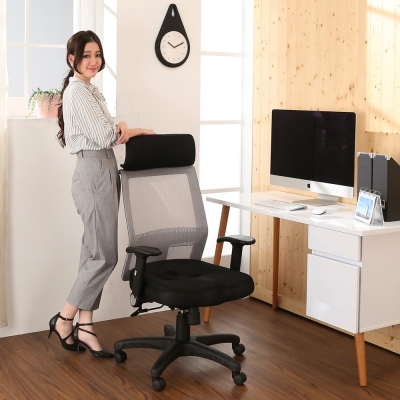 BuyJM 黑銀時尚專利3D高背辦公椅