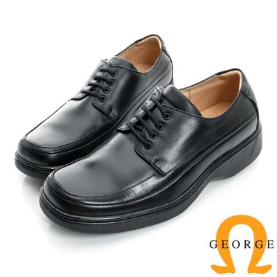 GEORGE-素面加厚底綁帶真皮方頭鞋-黑色