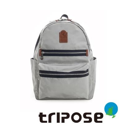 tripose 迷彩系列輕休閒多格層拉鍊後背包 淺灰