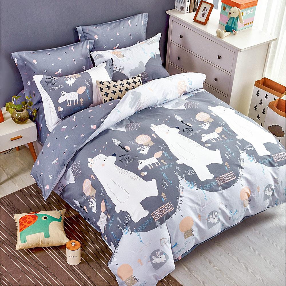 A-one 床包組 雙人 熊熊散步 床包加二件枕套 雪紡絲磨毛加工處理 台灣