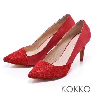 KOKKO經典再現 - 時髦尖頭斜切高跟鞋 - 瑪莉紅