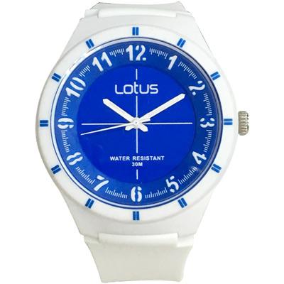 Lotus 亮色潮流 立體指針休閒錶(TP2126M-08)-白x藍面/45mm
