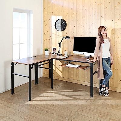 BuyJM工業風低甲醛防潑水L型160+80公分單鍵盤附插座工作桌160x140x79公分
