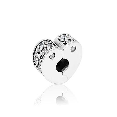 Pandora 潘朵拉 閃亮鋯石心型夾釦式扁珠 純銀墜飾 串珠