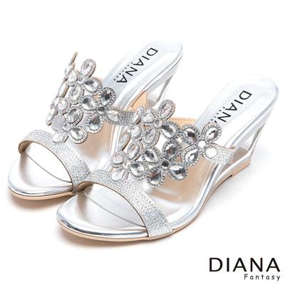 DIANA-奢華貴婦-時尚設計感鏤空楔型涼跟鞋-銀