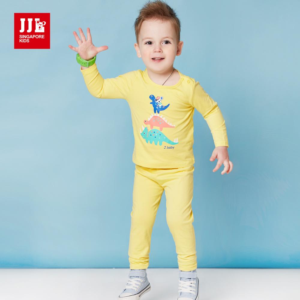 JJLKIDS 可愛恐龍王國純棉套裝(鵝黃)