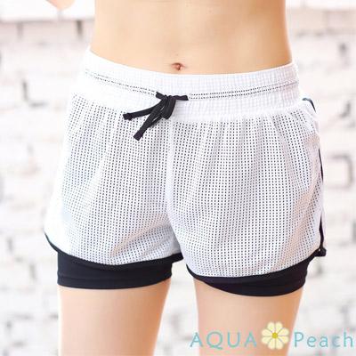運動褲 透氣網狀假兩件拼接短褲 (白色)-AQUA Peach