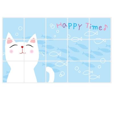 A-165手繪動物系列 白貓咪防油貼 大尺寸高級創意壁貼 牆貼