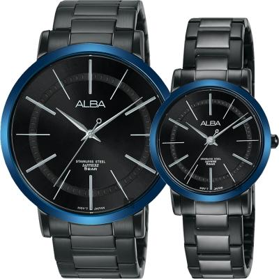 ALBA雅柏 東京情人時尚手錶(AH8483X1)-鍍黑x藍框/44mm