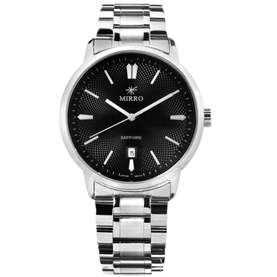 MIRRO 米羅 藍寶石水晶玻璃日期視窗不鏽鋼手錶- 黑色/42mm