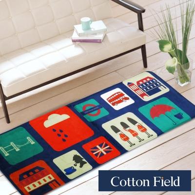 棉花田 倫敦標緻 法蘭絨印花防滑走道毯(39x108cm)