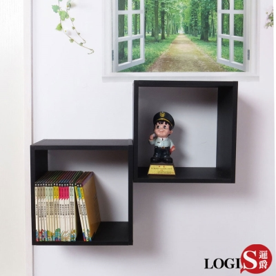 LOGIS邏爵 黑白魔術口格子壁櫃 壁架 展示櫃-正方形兩入組