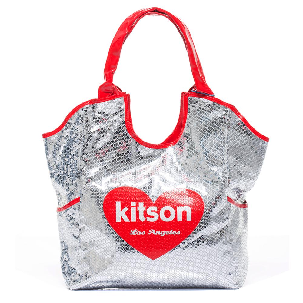 kitson 愛心亮片托特包(大) SILVER/RED