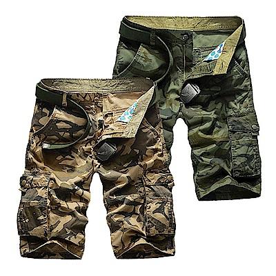 美國熊 立體感多口袋 透氣水洗薄款面料 迷彩短褲