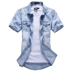 【韓式作風】個性刷白牛仔短袖襯衫