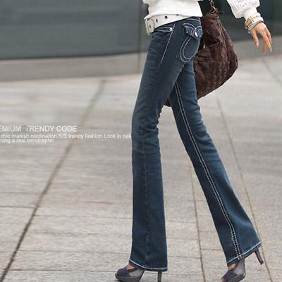 N-C21-搶眼車線翹臀感牛仔褲-單寧藍