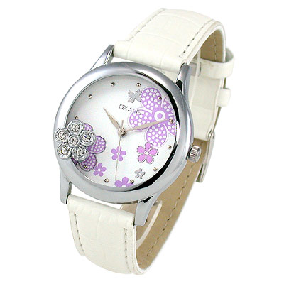 【Oxalis 酢漿草】浪漫花紛晶飾錶(白)