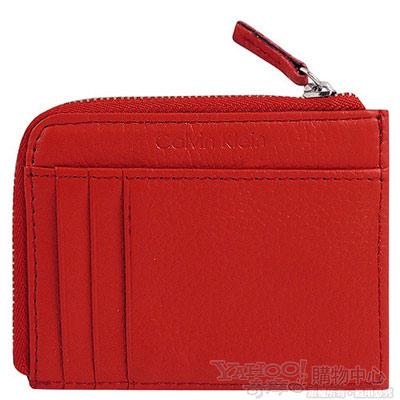 Calvin Klein 紅色真皮壓紋零錢包/證件夾