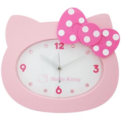 Hello Kitty凱蒂貓 貓臉造型粉彩珠光超靜音掛鐘(甜美粉)JM-W595KT-P