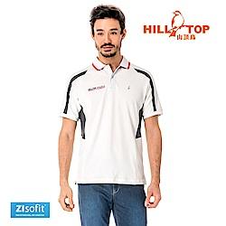 【hilltop山頂鳥】男款吸濕排汗抗UVPOLO衫S14MG0-布朗德白