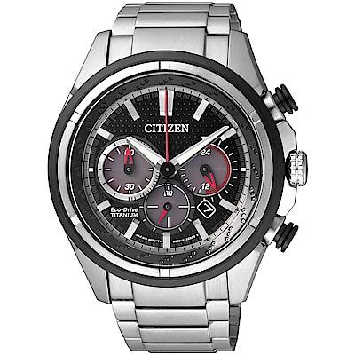 CITIZEN 光動能 分秒必爭 鈦金屬三眼計時腕錶(CA4241-55E)-黑/43mm