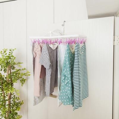 【促銷】日本AISEN室內機能6段式30夾粉紅曬衣架