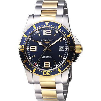 LONGINES浪琴 征服者300米64小時動力儲存潛水機械手錶-藍x雙色版/41mm