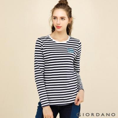 GIORDANO 女裝簡約百搭圓領印花長袖T恤 - 16 皎雪/海軍藍色