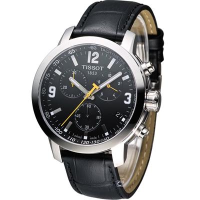 TISSOT 天梭 PRC-200 計時運動錶-黑/42mm