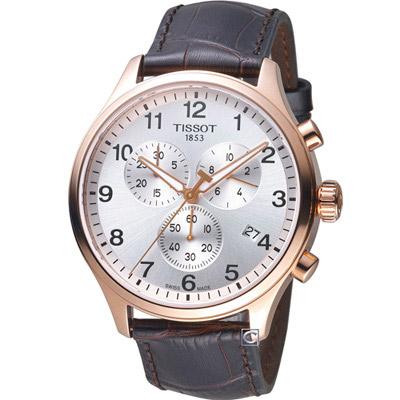 TISSOT天梭 韻馳經典計時腕錶(T1166173603700)皮/45mm