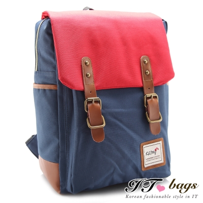 It Bags 後背包 中井雙皮飾磁釦古著後背包 共四色