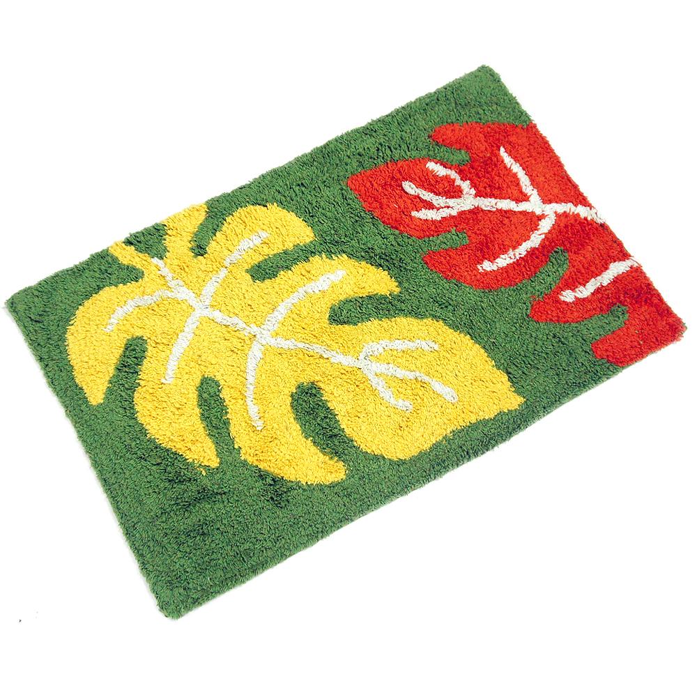 布安於室-三葉彩純棉踏墊-綠色(2入)