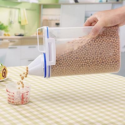 PUSH!廚房居家用品儲米桶箱密封防蟲防潮加厚塑膠米桶雜糧附量杯2KG I70-1二入